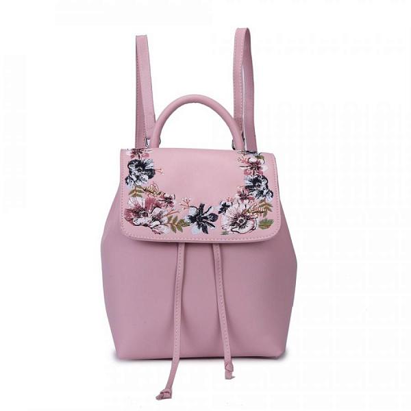 43e900c4bccb Купить женский рюкзак из экокожи с вышивкой на клапане и затяжках в ...